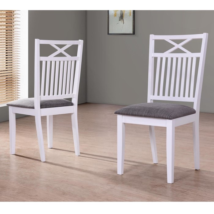 Melbourne Island Pair Of White Dining Chairs With Grey