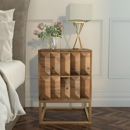 Miller Solid Mango Wood Bedside Table - 2 Drawer