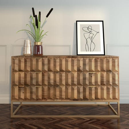 Miller Solid Mango Wood Chest of Drawers - 6 Drawers