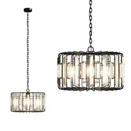 Large Black Metal Pendant Light with Crystals - Montrose