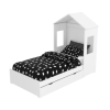 Milo House Bed in White with Pull Out Storage Drawer