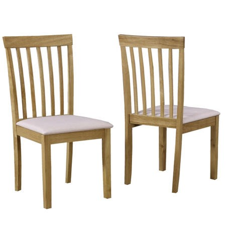 Set of 2 Wooden Dining Chairs with Cream Fabric Seats - New Haven