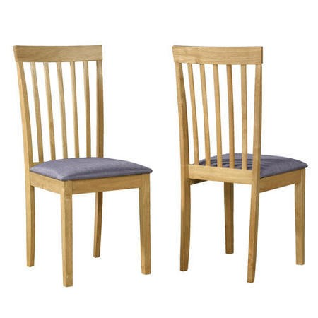 New Haven Pair of Wooden Dining Chairs with Grey Fabric Seats