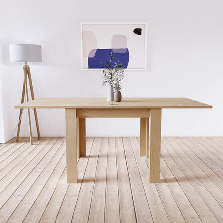 Extendable Flip Top Oak Dining Table - Seats 6 - New Town