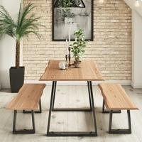 Orson Solid Wood Dining Table & Bench Set