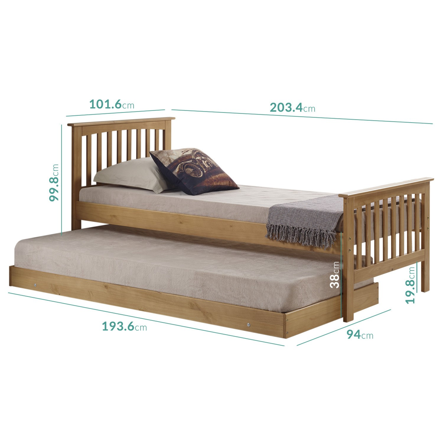 Oxford Single Guest Bed in Pine   Trundle Bed Included   Buy It Direct