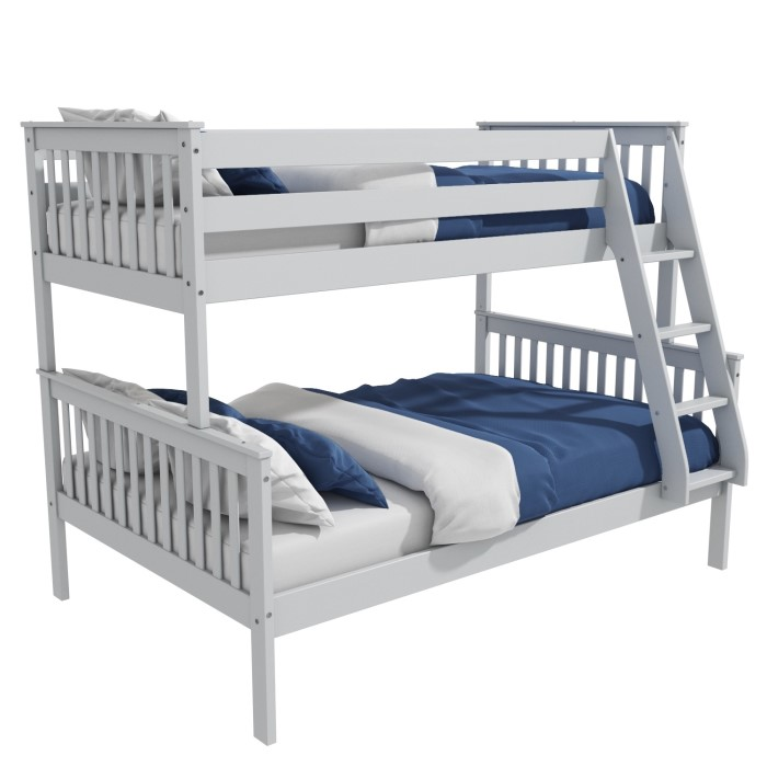 Oxford Triple Bunk Bed In Light Grey Small Double Buy It Direct