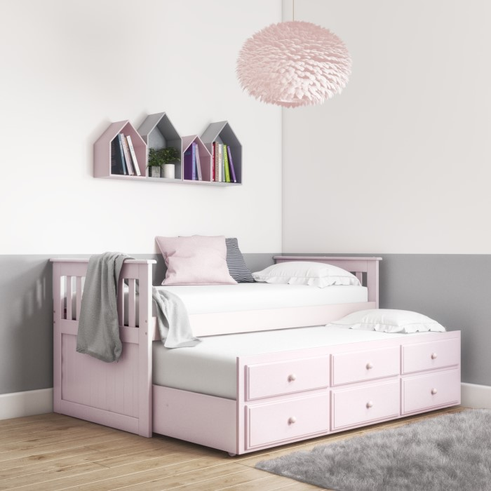Oxford Captains Guest Bed With Storage In Light Pink