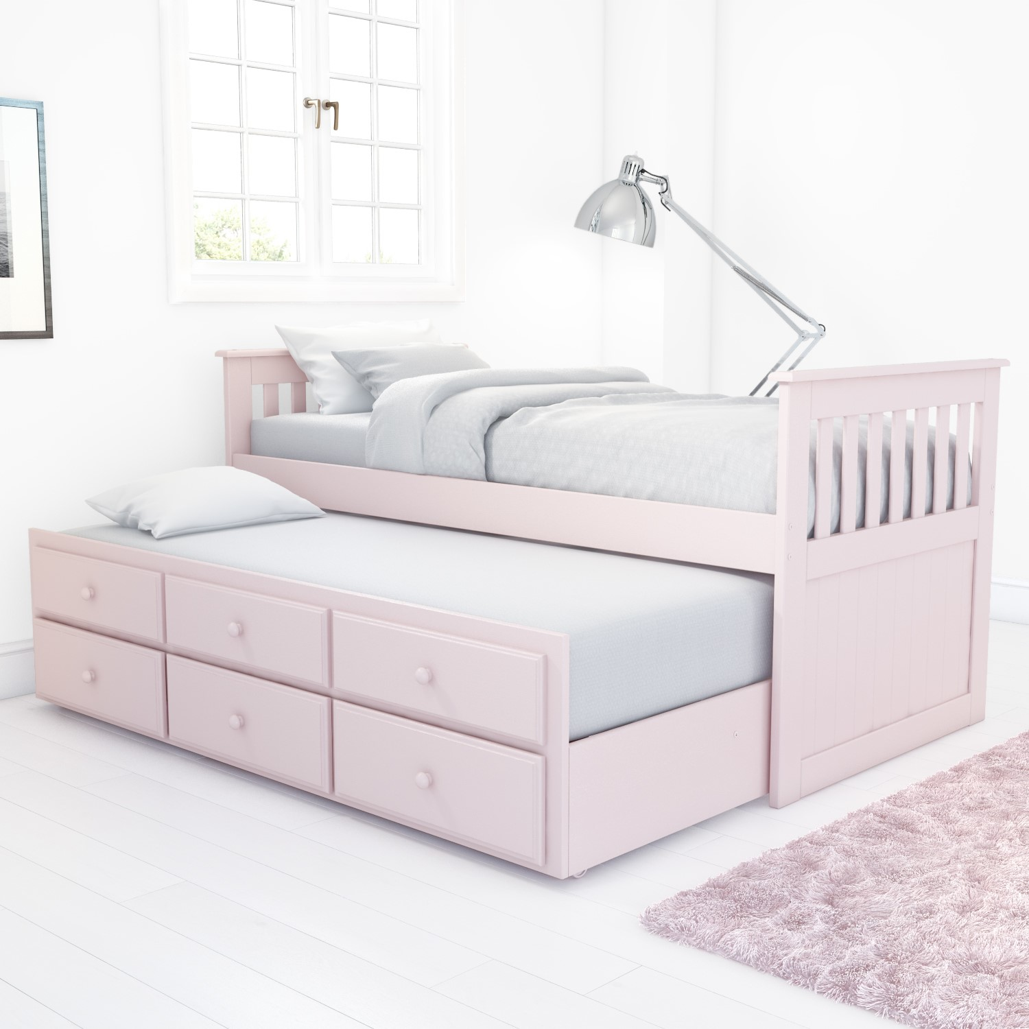 Oxford Captains Guest Bed With Storage In Light Pink Trundle Bed Included Buyitdirect Ie
