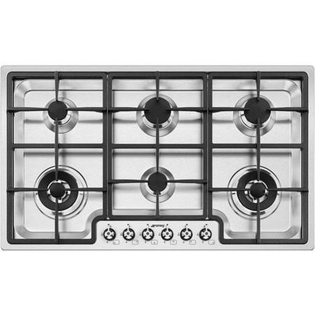 Smeg PGF96 Classic Stainless Steel Ultra Low Profile 6 Burner 87cm Gas Hob