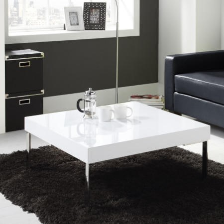 Square Gloss Coffee Table in White - Tiffany