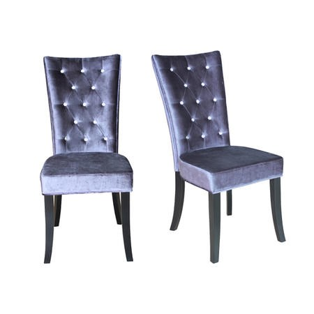 LPD Radiance Pair of Silver Grey Velvet Dining Chairs