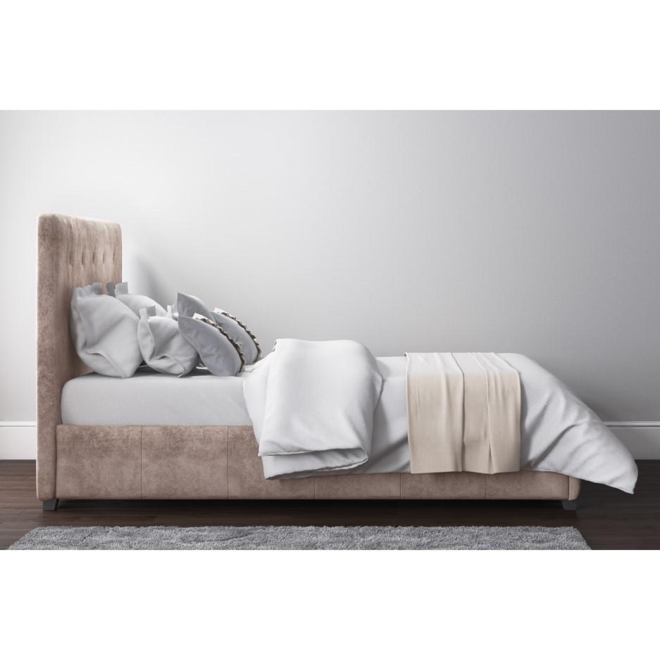 Safina Double Ottoman Bed In Beige Velvet Buy It Direct