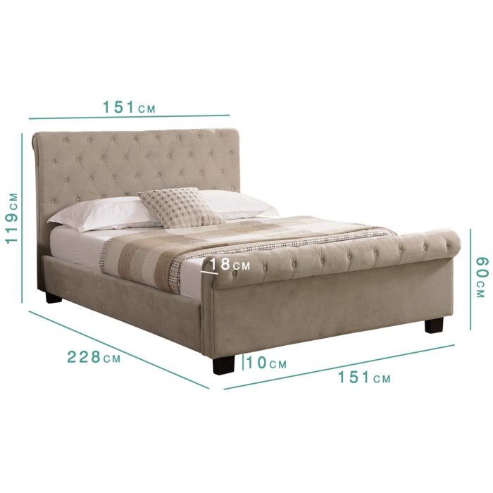 283 Best Images About Fabric Bed Headboards On Pinterest: Safina Roll Top Double Sleigh Bed In Beige Velvet