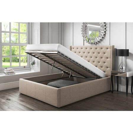 Safina King Size Wing Back Ottoman Bed with Stud Detailing in Woven Beige