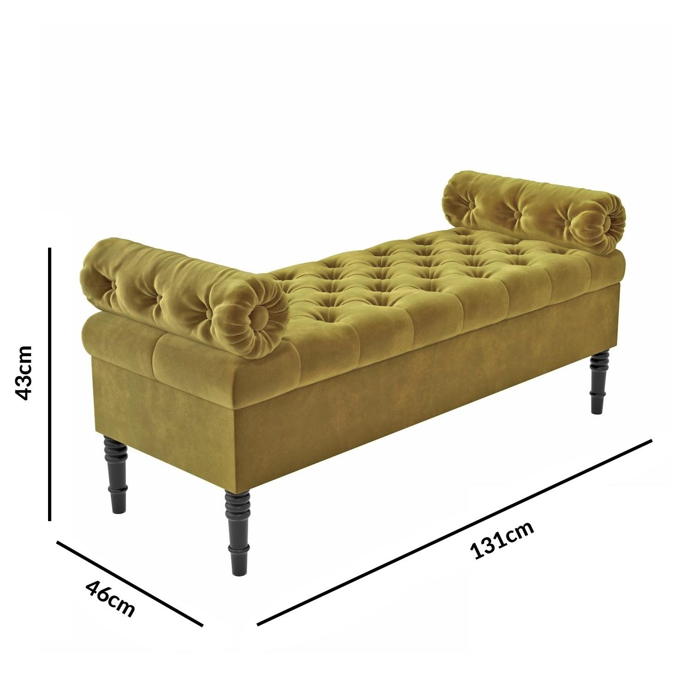 Safina Hall Storage Bench In Olive Green Velvet Buyitdirect Ie