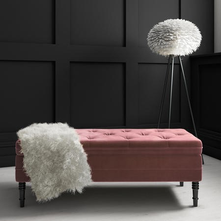 Awe Inspiring Safina Storage Bench In Blush Pink Velvet Ncnpc Chair Design For Home Ncnpcorg