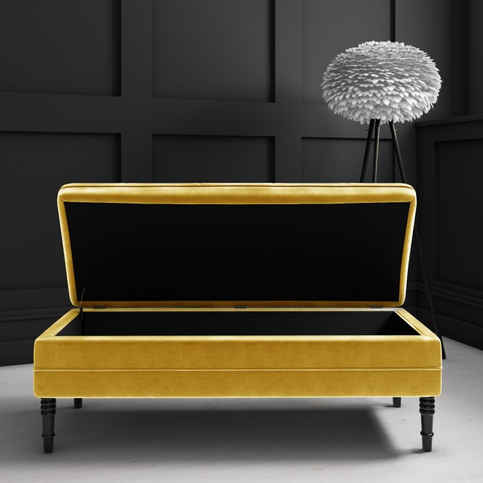 Safina Ottoman Storage Bench In Mustard Yellow Velvet With
