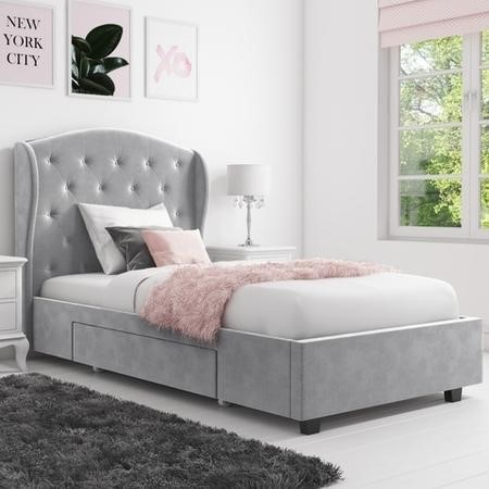 Safina Wing Back Single Bed in Grey Velvet with Underbed Drawer