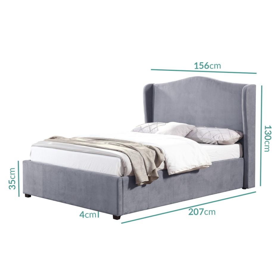 Groovy Safina Wing Back Double Ottoman Bed In Grey Velvet Spiritservingveterans Wood Chair Design Ideas Spiritservingveteransorg