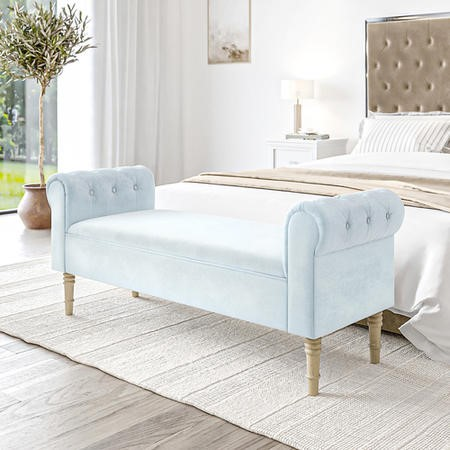 Safina Duck Egg Blue Velvet Bench with Quilted Arm Rest
