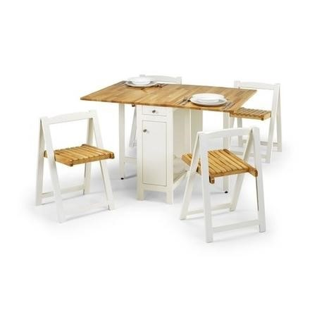 Julian Bowen Savoy Butterfly Folding Dining Table Set in White/Natural