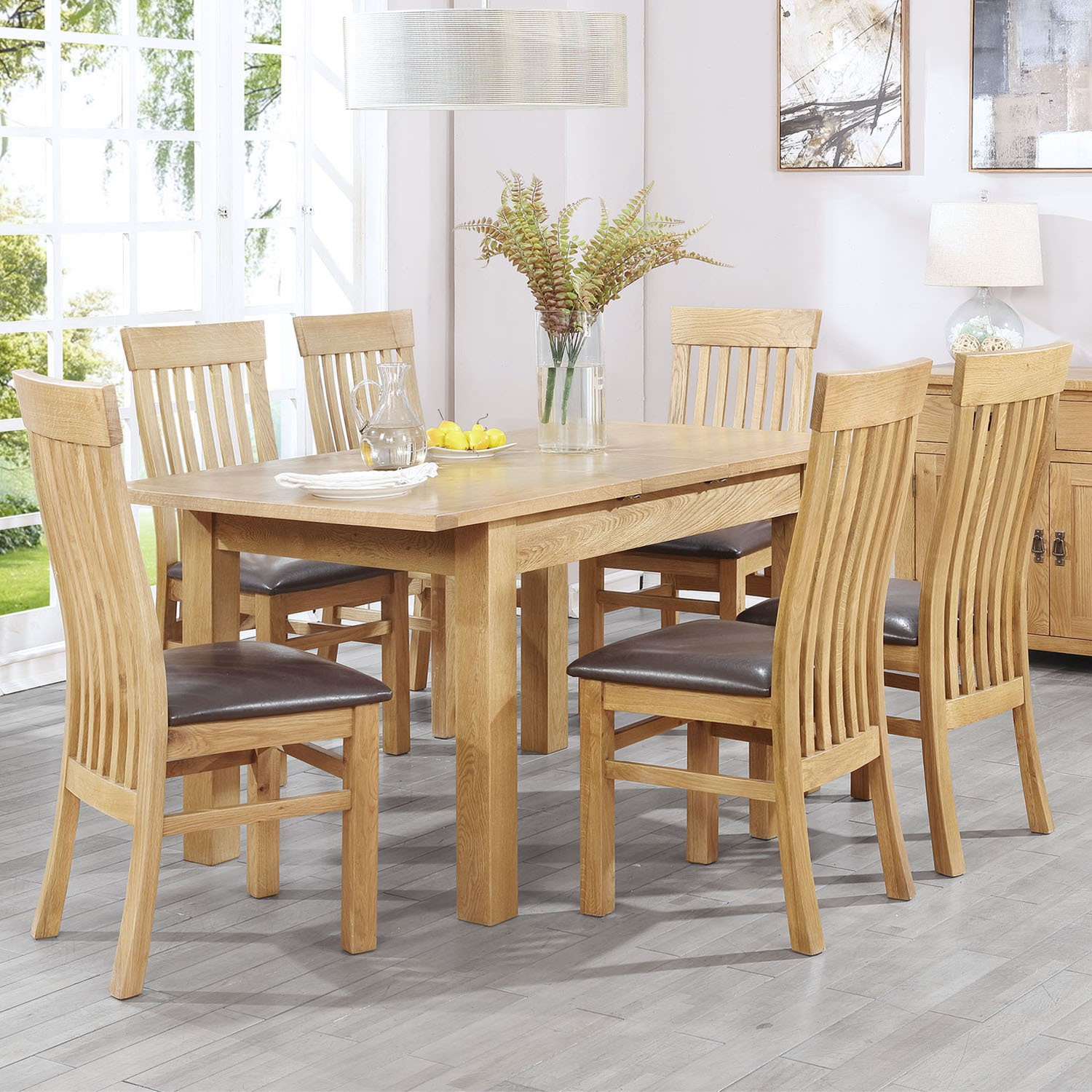 Extendable Solid Oak Dining Table And 6 Chairs Rustic Saxon Range Buyitdirect Ie