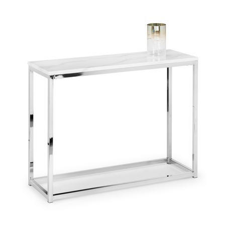 White Marble Console Table with Silver Base - Julian Bowen Scala