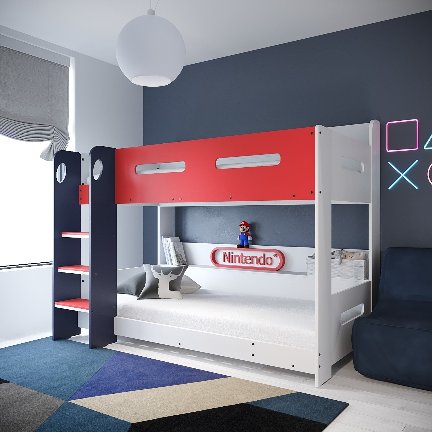 Picture of: Sky Bunk Bed In White Red And Blue Ladder Can Be Fitted Either Side Buyitdirect Ie