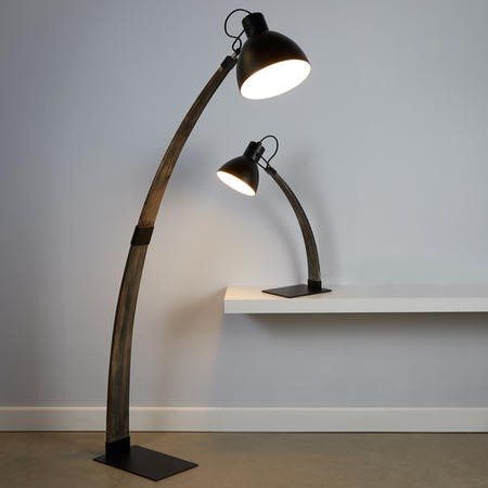 Nanna Industrial Floor Lamp in Matt Grey & Wood - Retro Inspired