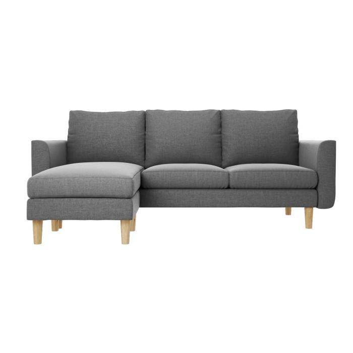 Corner Sofa Left And Right: Brooke Light Grey 3 Seater Corner Sofa