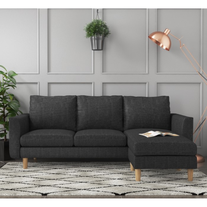 Brooke Dark Grey 3 Seater Corner Sofa - Right/Left Hand Chaise