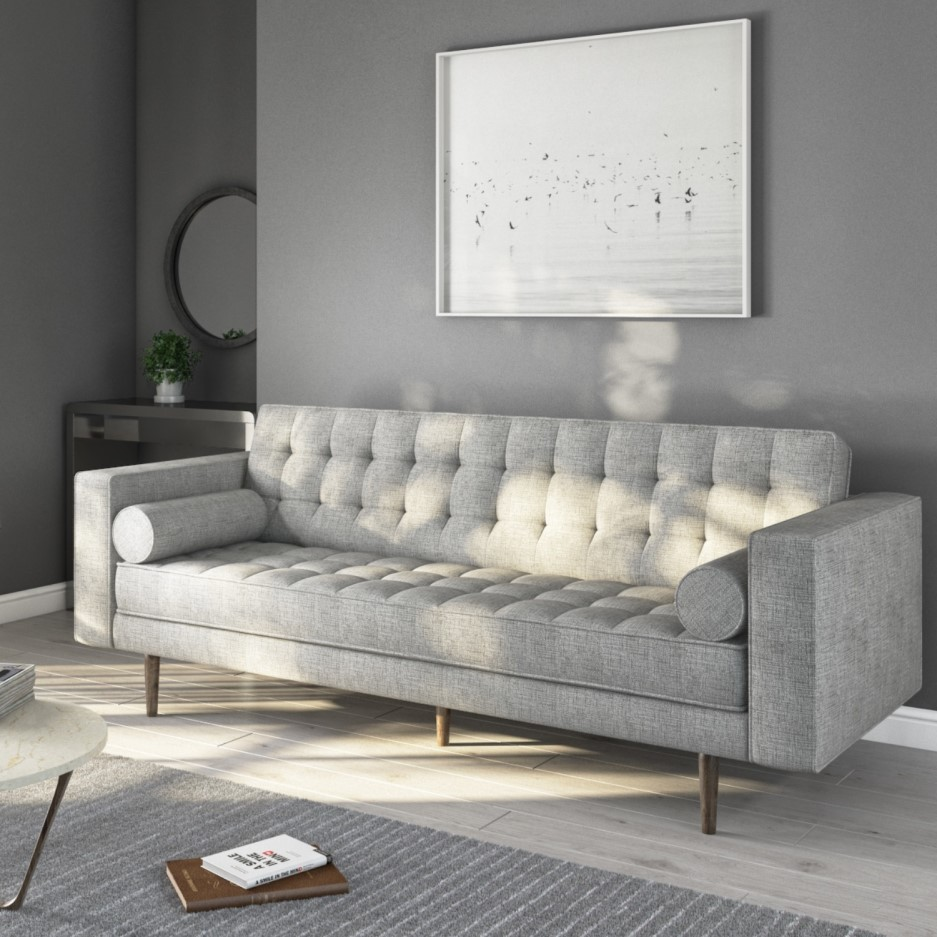 Pleasing Buttoned Light Grey Sofa 3 Seater With Cushions Elba Gmtry Best Dining Table And Chair Ideas Images Gmtryco