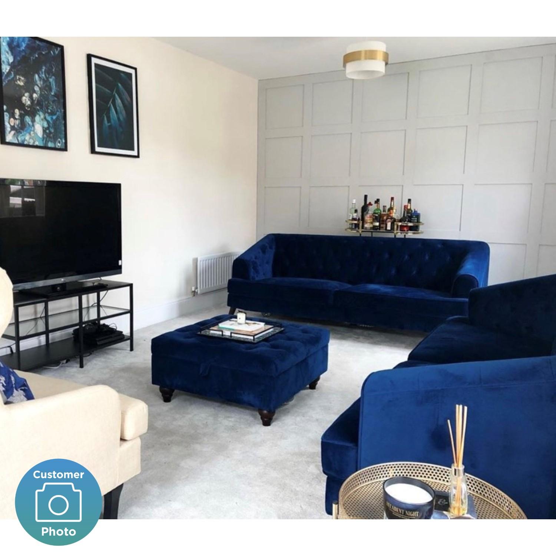 Chesterfield Sofa In Navy Blue Velvet 3 Seater Inez Buyitdirect Ie
