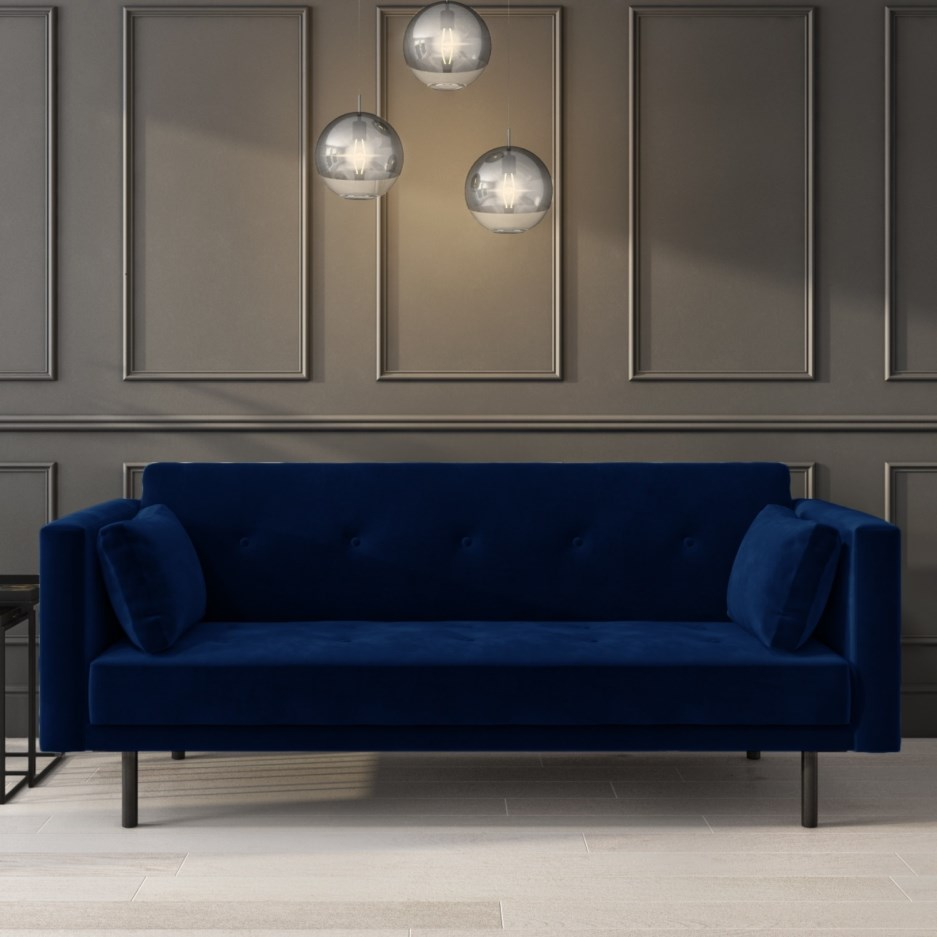 Velvet Sofa Bed in Navy Blue with Buttons   Rory ...