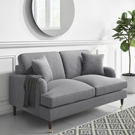 Grey Woven Fabric 2 Seater Sofa- Payton