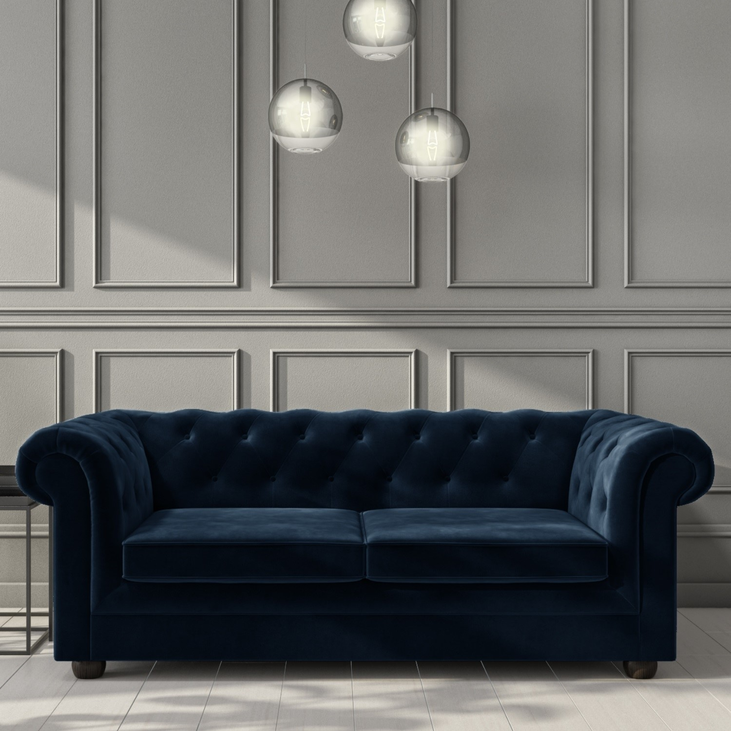 Navy Blue Velvet Chesterfield Sofa Bed Seats 3 Double Bed Bronte Buyitdirect Ie