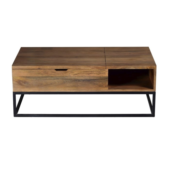 Suri Modern Coffee Table With Storage In Mango Wood Metal Detail