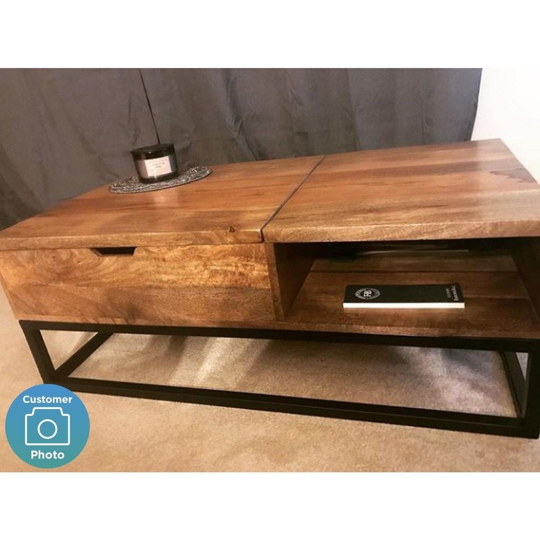 Suri Industrial Modern Coffee Table With Storage In Mango Wood U0026amp; Metal  Detail