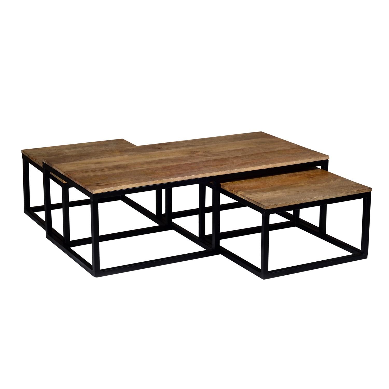 - Industrial Coffee Tables In Wood & Black Metal - 3 - Suri