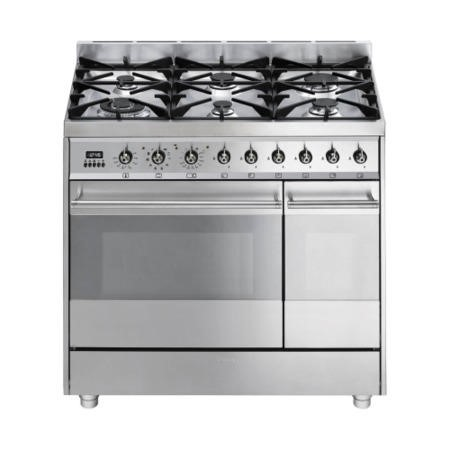 Smeg SY92PX8 Symphony Dual Cavity Pyro 90cm Dual Fuel Range Cooker Stainless Steel