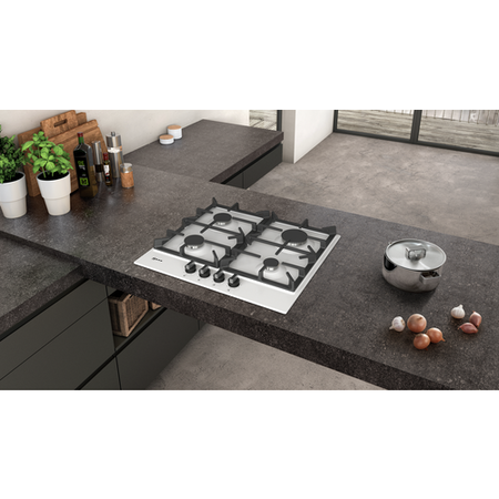 Neff T26DS49W0 N70 59cm Four Zone Gas Hob White With Cast Iron Pan Stands