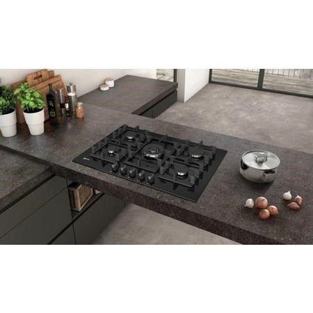Neff T27CS59S0 75cm Five Zone Gas-on-glass Hob Black With Cast Iron Pan Stands