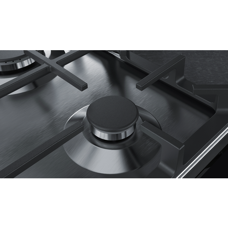 Neff T27DA69N0 N70 75cm Five Burner Gas Hob Stainless Steel With Cast Iron Pan Stands