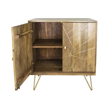 Solid Wood TV Unit with Brass Inlay & 2 Cupboards- Tahlia Range
