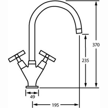 CDA TC41CH Quarter Turn Cross Handle Monobloc Tap