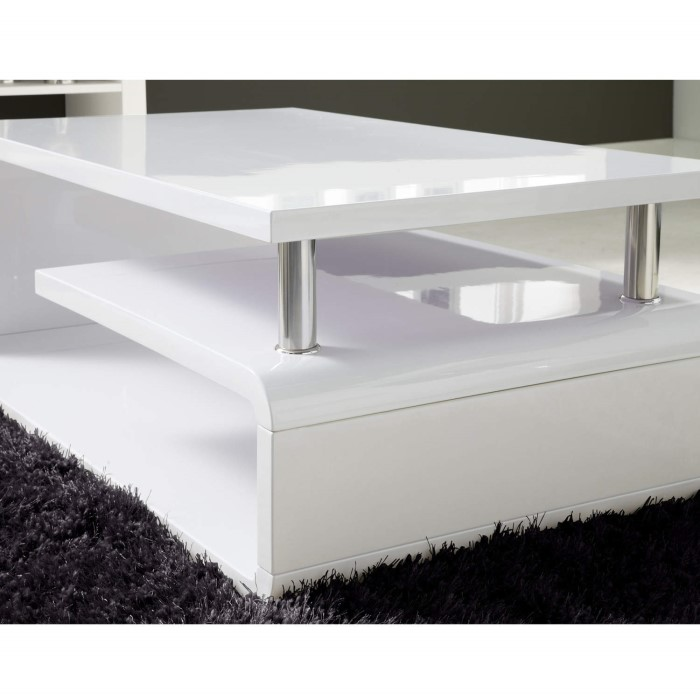 Tiffany White High Gloss Cubic Led Coffee Table Furniture: High Gloss Modern White Coffee Table