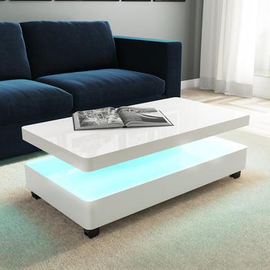 Amazing White Gloss Coffee Table With Led Tiffany Inzonedesignstudio Interior Chair Design Inzonedesignstudiocom
