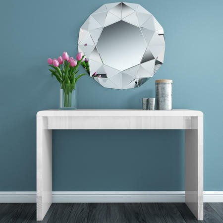Large White High Gloss Console Table - Tiffany