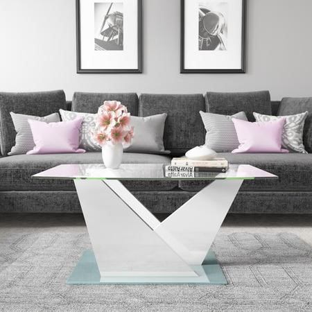 Glass Coffee Table with White High Gloss Stand - Tiffany Range